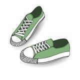 Vector die Illustration der Hand gezeichnet und zeichnen, Sportschuhe für Tennis, Trainer, Turnschuhe Beiläufige Art Blauer nahtl Stockfotos