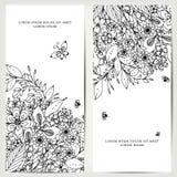 Vector die Illustration der Karte mit Blumenfahnen Zen Tangle und kritzeln Lizenzfreies Stockfoto