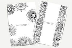 Vector die Illustration der Karte mit Blumenfahnen Zen Tangle und kritzeln Hell, Modeschönheit Erwachsene Malbücher Stockfotos