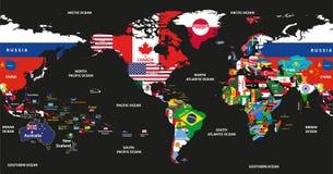 Vector die Illustration der Weltkarte verbunden mit Staatsflaggen mit den Land- und Ozeannamen, die durch Amerika zentriert werde Stockfotos