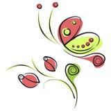 Vector die Illustration des bunten roten und grünen Karikaturschmetterlinges und -rosen mit Blättern, lokalisiert auf dem weißen  Stockfoto