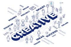 Vector die Illustration des dreidimensionalen Wortes kreativ mit peop Lizenzfreies Stockbild