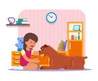 Vector die Illustration des Mädchens zu Hause spielend mit ihrem Hund stock abbildung