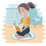 Vector die Illustration des netten Mädchens ein Buch auf gelbem Hintergrund lesend Stockfoto