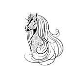 Vector die Illustration des Pferdekopfs verziert mit Blumenmuster in der Schwarzweiss-Art Lizenzfreie Stockfotografie
