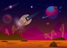Vector die Illustration des Raumschiffes fliegend über ausländischen Planeten t in geöffnetem Raum lizenzfreie abbildung