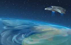 Vector die Illustration des Raumschiffes fliegend über Planeten zum blauen Stern in geöffnetem Galaxieraum Erdansicht vom Raum stock abbildung
