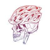 Vector die Illustration des stilisierten Schädels einen Radfahrersturzhelm tragend Stockfotografie