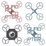 Vector die Illustration, die das Logo in Form eines Quadrohubschraubers darstellt Stockbilder