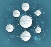 Vector die Illustration, die für Kommunikations-Plan in der Struktur von abstrakten Molekülen und Aufkleber des Papiers 3D sich e Stockfotografie