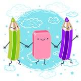 Vector die Illustration farbigen Bleistifte und halten den Griff des Radiergummis und des Lächelns Stockbilder