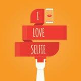 Vector die Illustration von selfie und machen Selfie-Foto auf intelligentem Phon Stockbild