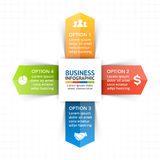 Vector die infographic Kreispfeile, Diagramm, Diagramm, Darstellung, Diagramm Konjunkturkonzept mit 4 Wahlen, Teile Lizenzfreie Stockbilder