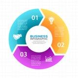 Vector die infographic Kreispfeile, Diagramm, Diagramm, Darstellung, Diagramm Konjunkturkonzept mit 3 Wahlen, Teile Stockfotos