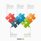 Vector die infographic Schablone von 5 Wahlen mit Puzzlespielabschnitten Lizenzfreie Stockbilder