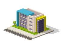 Vector die isometrische Ikone oder infographic Element, die niedriges Polykrankenhausgebäude darstellen Lizenzfreie Stockfotos