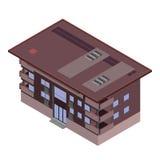 Vector die isometrische Ikone oder infographic Elemente, die niedrige Polystadtwohnung, Bürogebäude mit Fenstern und Dach für Sta Stockbilder