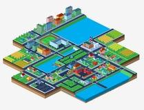 Vector die isometrische Stadt, die auf Weiß mit vielen Gebäuden lokalisiert wird Lizenzfreies Stockfoto