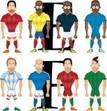 Vector die Karikaturillustration von Fußballspielern, lokalisiert Stockfotos