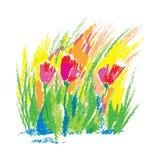Vector die kindlichen stilisierten roten Pastellblumen des Illustrationsöls, die auf weißem Hintergrund lokalisiert werden Blumen Lizenzfreie Stockfotos