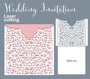 Vector die laser cut envelope. Template. Invitation envelope. Wedding lace invitation mockup vector illustration