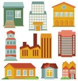 Vector die met gebouwenpictogrammen wordt geplaatst Stock Fotografie