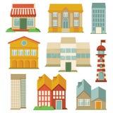 Vector die met gebouwenpictogrammen wordt geplaatst Royalty-vrije Stock Foto's