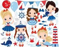 Vector die met Leuke Meisjes Gekleed in Zeevaartstijl, Marine Animals en Voorwerpen wordt geplaatst stock illustratie