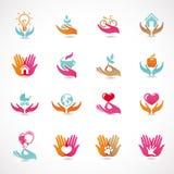 Vector die met tekens van liefde en zorg wordt geplaatst Stock Afbeeldingen