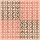 Vector die quadratischen schwarzen und roten Linien, die auf einem rosa Hintergrund lokalisiert werden Minimalistic-Art lizenzfreie abbildung