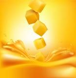 Vector die saftigen Mangoscheiben, die in den frischen Saft fallen Stockfoto