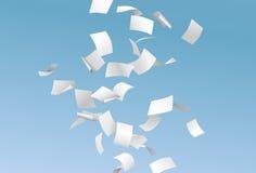 Vector die Seiten oder Dokumente, die unten in den Wind mit blauem Himmel fliegen lizenzfreie abbildung