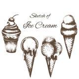 Vector die Skizze der Eiscreme lokalisiert auf weißem Hintergrund lizenzfreie abbildung