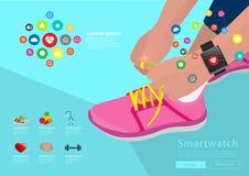 Vector die Sportfrauenhand, welche die Spitzee bindet, die smartwatch tragen Stockfotos
