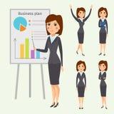 Vector die stehende erwachsene Bürokarriere des Geschäftsfrau-Charakterschattenbildes, die junges Mädchen aufwirft Stockfotografie