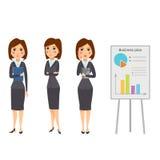 Vector die stehende erwachsene Bürokarriere des Geschäftsfrau-Charakterschattenbildes, die junges Mädchen aufwirft Lizenzfreies Stockfoto