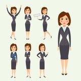 Vector die stehende erwachsene Bürokarriere des Geschäftsfrau-Charakterschattenbildes, die junges Mädchen aufwirft Stockfoto