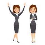 Vector die stehende erwachsene Bürokarriere des Geschäftsfrau-Charakterschattenbildes, die junges Mädchen aufwirft Stockbild