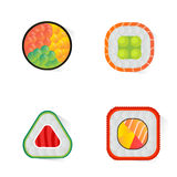 Vector die Sushi und Rollen eingestellt lokalisiert auf weißem Hintergrund Lizenzfreies Stockfoto