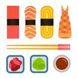 Vector die Sushi und Rollen eingestellt lokalisiert auf weißem Hintergrund Lizenzfreie Stockbilder