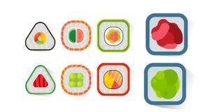 Vector die Sushi und Rollen eingestellt lokalisiert auf weißem Hintergrund Stockfoto