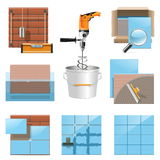 Vector die Tegelspictogrammen leggen Stock Fotografie