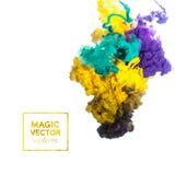 Vector die Tinte, die in Wasser, Wolke der Tinte im Wasser wirbelt, das an lokalisiert wird Stockfotos