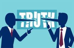 Vector die van twee zakenliedenpolitici aan elkaar dishonestly liggen belangrijke zaken stock illustratie