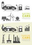 Vector die voor elektrische en benzine aangedreven auto's wordt geplaatst vector illustratie