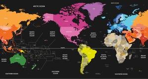 Vector die Weltpolitische Karte, die durch Kontinente auf schwarzem Hintergrund gefärbt wird und durch Amerika zentriert ist vektor abbildung