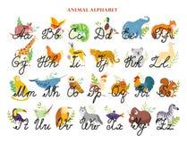 Vector dierlijk alfabet met de hand getrokken kappen van de brievendoopvont en in kleine letters geïsoleerd op witte achtergrond  royalty-vrije illustratie
