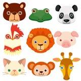 Vector dierlijke hoofdpictogrammen Stock Foto's