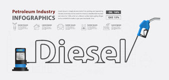 Vector diesel typographic pump nozzle creative design. Diesel typographic pump nozzle creative design, Fuel pump icon, Petrol station sign, vector illustration Royalty Free Stock Images