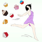 Vector Diet concept  with Fancy Sketchy Cupcakes. Stock Images
